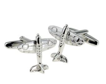 silver spitfire Cufflinks design Cufflinks in gift box cuff links