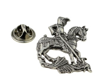 St George & the Dragon English Pewter Badge / tie pin, Lapel Pin Badge, boxed