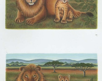 lion and cub 2 on sheet decoupage sheet high quality printed on quality paper ideal cards etc