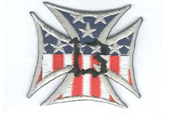 iron cross usa 13 embroidered iron / sew on patch