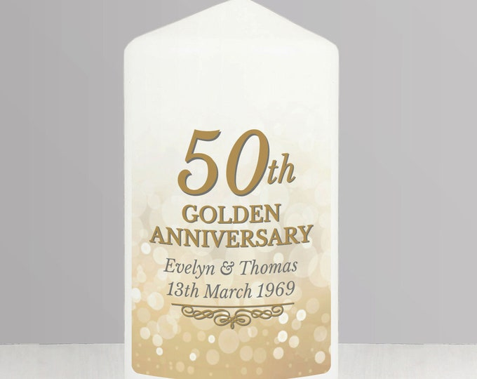 Personalised 50th Golden Anniversary Pillar Candle made to order