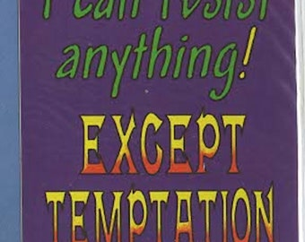 i can resist anything except temptation slapstick funny stickers pack of 1 (as shown) self adhesive fun stickers