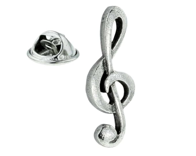 silver Plated Treble Clef tie pin, Lapel Pin Badge, in gift box