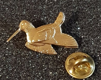 gold long billed bird with clip on rear Pin ,Badge / tie pin . in gift box