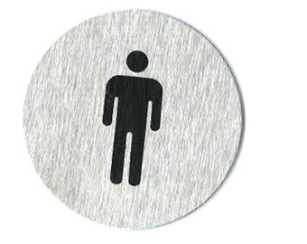 brushed steel sign, gents. with stick pad on back ideal for crafts, home, office