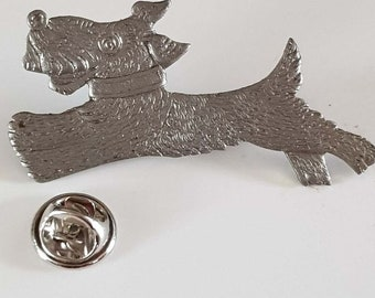 pewter running dog with clip on rear Pin ,Badge / tie pin unisex gift