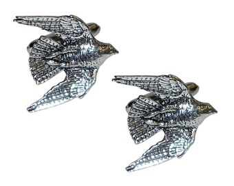 English Made Swooping Falcon Pewter Cufflinks british bird English Pewter  boxed