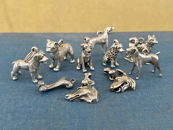 Lot of Vintage Sterling Silver Charms Dog Charms A