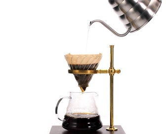Pour-Over Coffee Dripper Metal with Wood Stand Heavy-Duty Father's Day Gift
