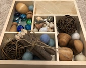 Reggio Waldorf Montessori Homeschool Open Ended Child Wooden Tinker Tray 5 compartments containing Loose Parts with Finished Wood Objects