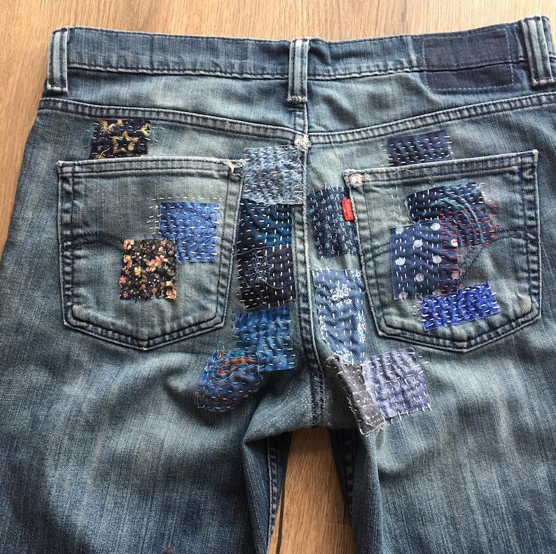 Boro appliqu\u00e9 reworked jeans Custom made for you!