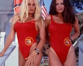 BFUSTYLE Classic USA One-piece Swimsuit Same As In BAYWATCH Movie, Red Baywatch Lifeguard Swimsuit, Red Swimwear