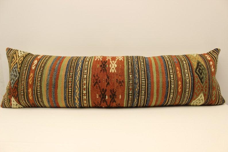 Extra Long 14x47 inch 35x120 cm Old Kilim Cushion Kingsize Rug Pillow Cover Bedding Pillow Vintage Sofa Pillow Ethnic Boho Kissen Z-373