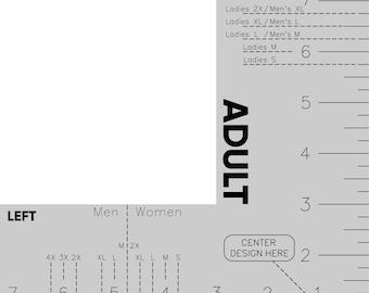 Digital Adult Shirt Left Pocket Ruler File, Shirt Chest Placement Tool SVG, Craft Ruler PDF, Custom Shirt Making Ruler EPS, Men, Women