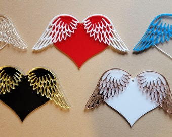 Wholesale Christmas Ornament Blanks, Heart & Angel Wings Memorial Ornament, Hanging Acrylic DIY Decoration, Holiday Tree Ornament Blank