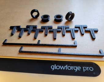 Glowforge Care Package, GF Starter Kit, Replacement V Wheels, Straight Crumb Tray Edge, Honeycomb Pin, Laser Carriage Gantry Wheel, 3D Print
