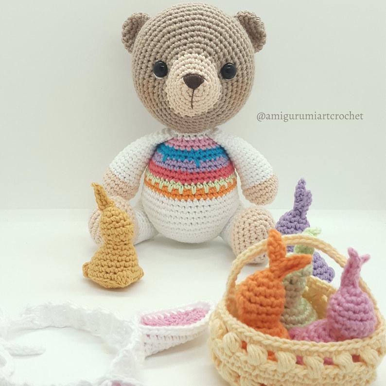 amigurumi pattern chocolate bunny crochet pattern Easter bunny patr\u00f3n ENGLISHESPA\u00d1OL Frida bear at Easter Osita Frida en Pascua