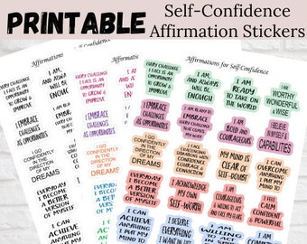 Affirmations for Self-Confidence, Affirmation Stickers, Instant Download Stickers, Printable Stickers, Print and Cut Stickers
