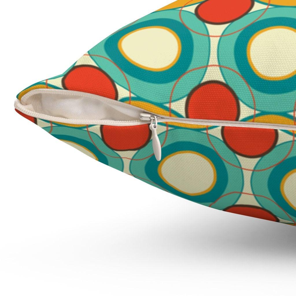 midcentury modern throw pillow spun polyester square
