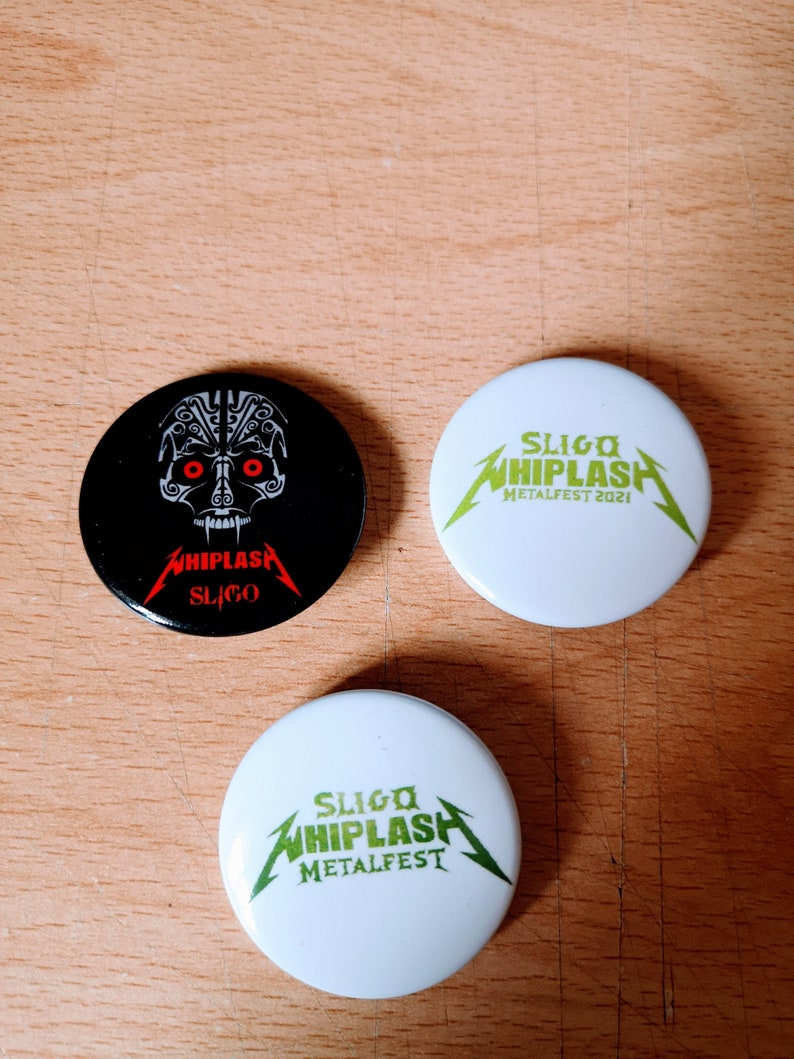Official Sligo Whiplash Metalfest Pin Badge set 3 badges image 0
