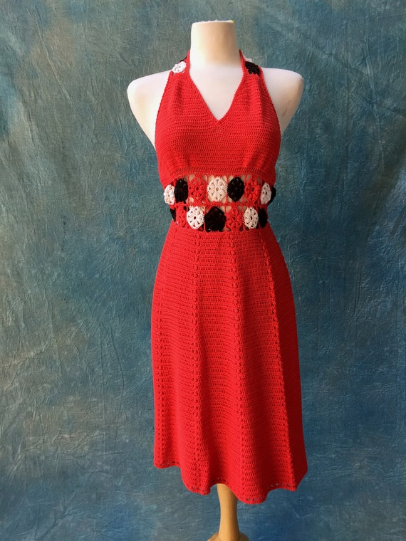 1970s Hand knitted Dress, crochet waist!