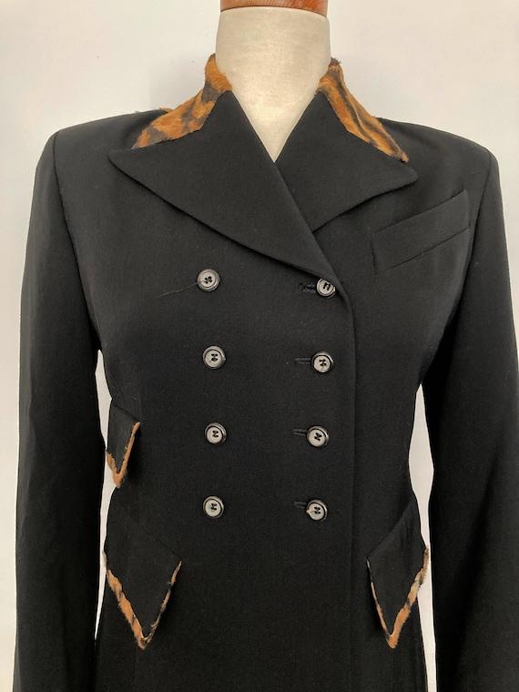 1990s Long Black Blazer Suit Jacket Coat with FAUX
