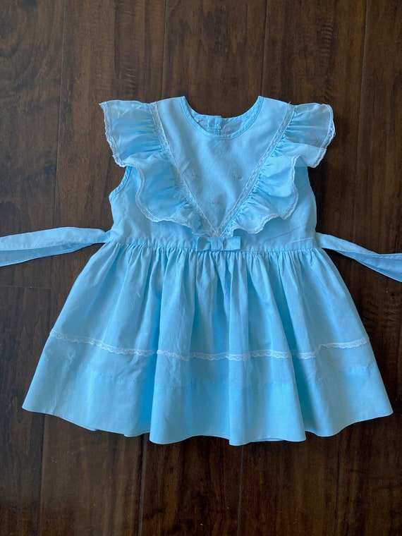 1950s Vintage Light Blue Frock Toddler Dress