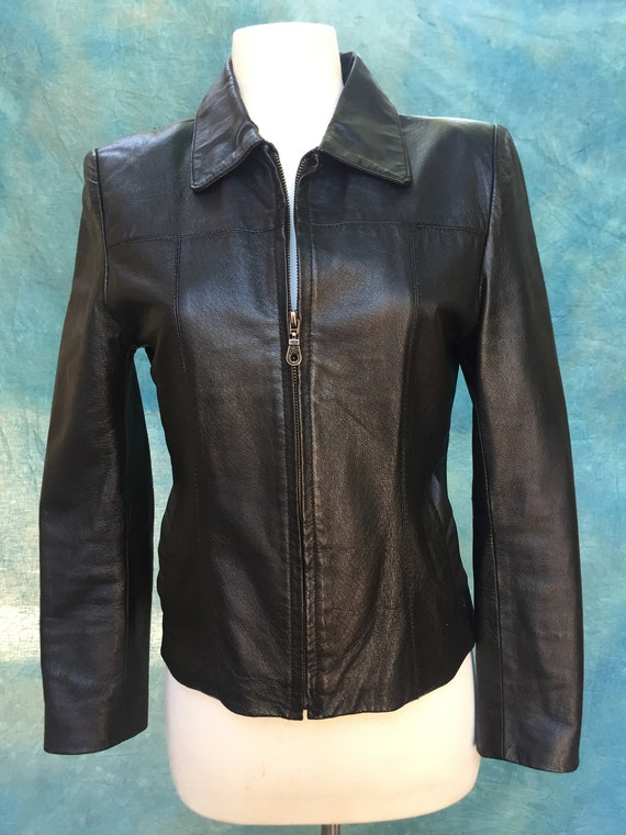 1980s Leather Jacket Black XS/S
