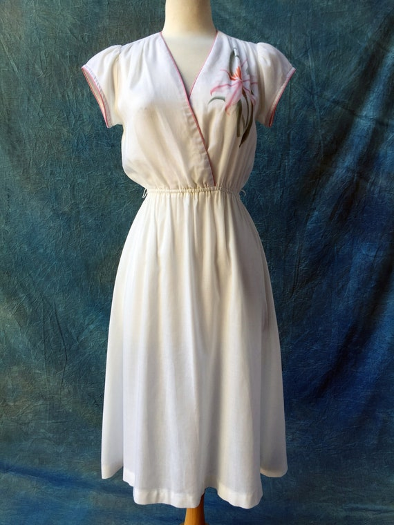 "1980s White Dress light cotton ""California Holiday"