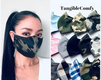 Cotton face mask, cloth face mask, reusable face mask, washable mask, mask with filter, camo face mask, sport face mask.