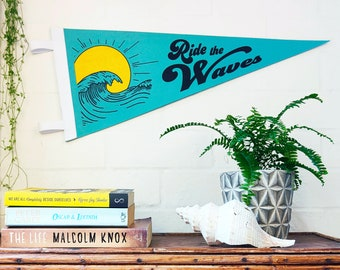 Felt Pennant Wall Hanging : Ride the Waves