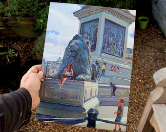 London; Trafalgar Square Lion Portrait; Original Painting; Reduced to Clear