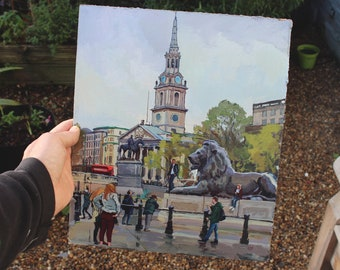 London; Trafalgar Square; St Martins; Original Oil Painting; Reduced to Clear