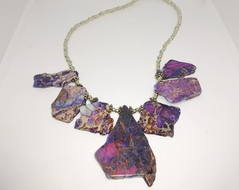 chunky purple and silver jasper beaded necklace