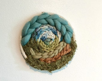 Woodland forest Woven wall hanging/ round weaving/ circle weaving/ woven wall hanging/ nature art/ happy art/ wall tapestry