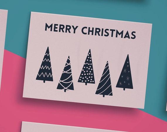 "Navy Christmas Trees Christmas Card [7x5"" Xmas card] Landscape Christmas Card   Christmas Wishes   Holiday Season 2020"