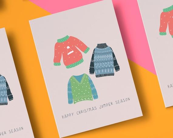 Christmas Jumper Season Christmas Card [5x7 Xmas card] Nordic Style   Funny Card   Christmas Wishes   Holiday Season 2020