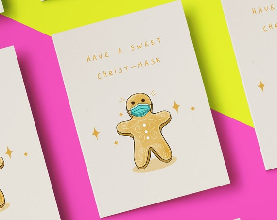 """Have A Sweet Christ-Mask Gingerbread Man Face Mask Christmas Card [5x7"""" Xmas card]    Funny Card   Christmas Wishes   Holiday Season 2020"""