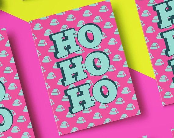 Bright Ho Ho Ho Christmas Card Barcode [5x7 Xmas card] Typography   Funny Card   Christmas Card  Holiday Season 2020