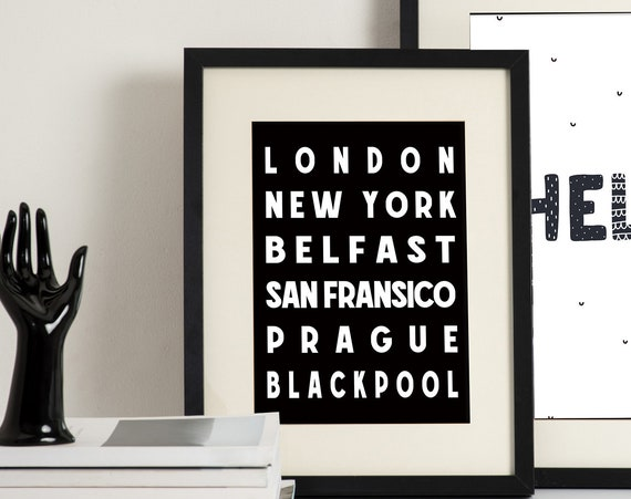 Customised Travel Destination Print | City Print | Anniversary Present | Couple Gift