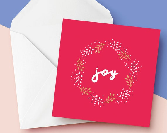 "Joy Christmas Card [6x6"" Xmas card]    Square Christmas Card   Modern Greetings Card   Holiday Season 2020"