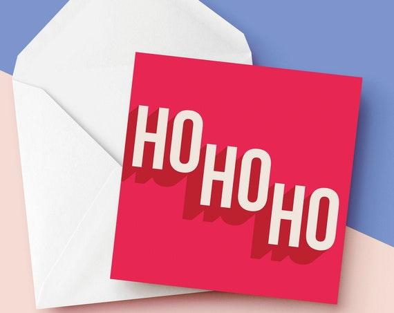 "Ho Ho Ho Christmas Card [5x5"" Xmas card]    Square Christmas Card   Modern Greetings Card   Holiday Season 2020"