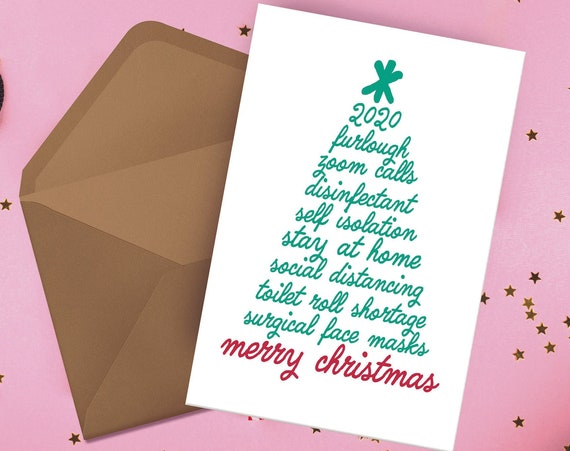 "Coronavirus Covid-19 Bingo Buzzwords Christmas Tree Xmas Card [5x7"" Xmas card] Typography   Funny Card   Christmas Card  Holiday Season 2020"