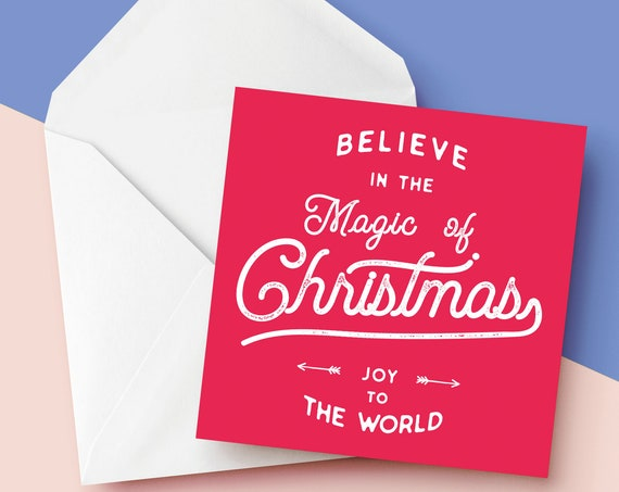 """Believe In The Magic Of Christmas   Christmas Card [6x6"""" Xmas card]    Square Christmas Card   Modern Greetings Card   Holiday Season 2020"""