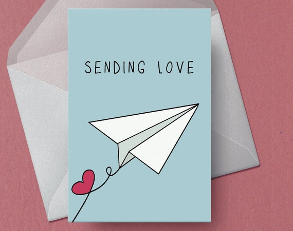 Sending Love Paper Plane Greetings Card | Just Because | Illustrated Card | Friendship Card