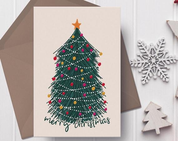 """Illustrated Christmas Tree Christmas Card   5x7"""" Xmas Card   Modern Christmas Card  """