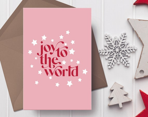 """Joy To The World Christmas Pink, Red & White Christmas Card   5x7"""" Xmas Card   Modern Christmas Card"""