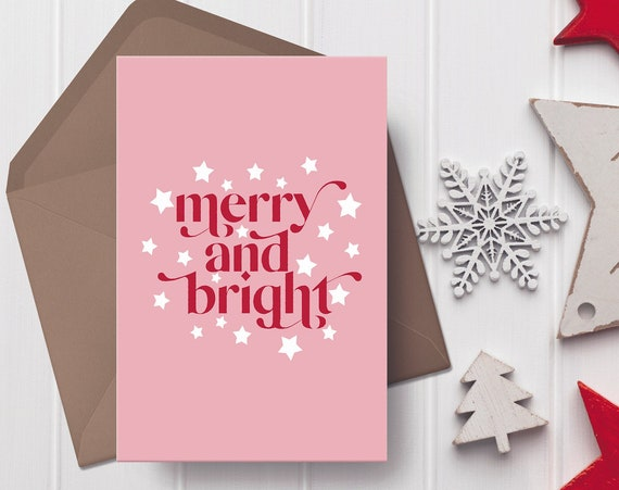 """Merry And Bright Christmas Pink, Red & White Christmas Card   5x7"""" Xmas Card   Modern Christmas Card"""