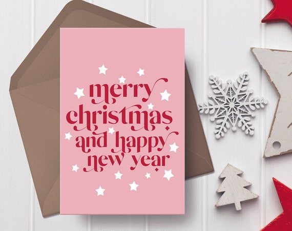 """Merry Christmas Pink, Red & White Christmas Card   5x7"""" Xmas Card  """