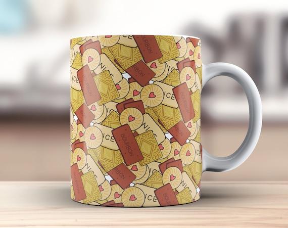 British Biscuits Coffee Mug   Ceramic Tea Cup   Secret Santa Gift   Stocking Filler Idea   Classic British Biscuits